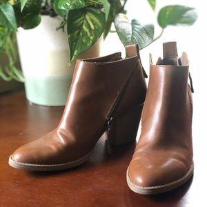 Target Brown Leather Healed Booties